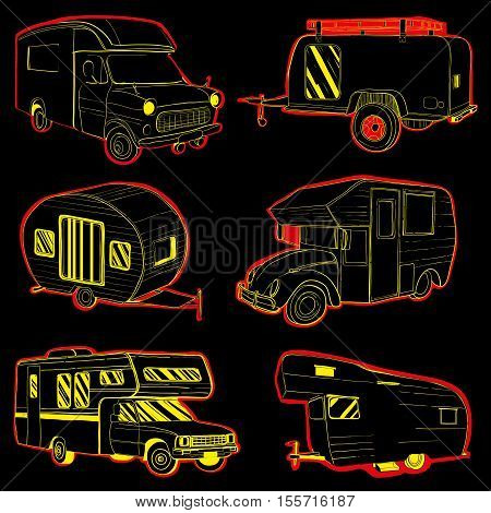 Vector illustration of Set Stickers isolated Hand Drawn, doodle Camper trailer, car Recreation transport, Vehicles Camper Vans Caravans Lines Icons. Motor home.