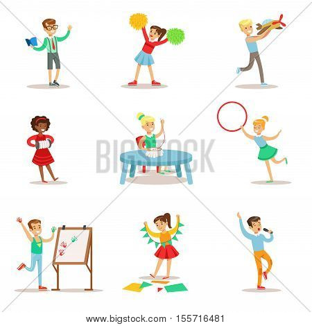 Creative Children Practicing Different Arts And Crafts In Art Class And By Themselves Set Of Kids And Creativity Themed Illustrations. Flat Cartoon Vector Drawings With Scholars Demonstrating Painting, Acting, Playing Musical Instrument And Other Creative