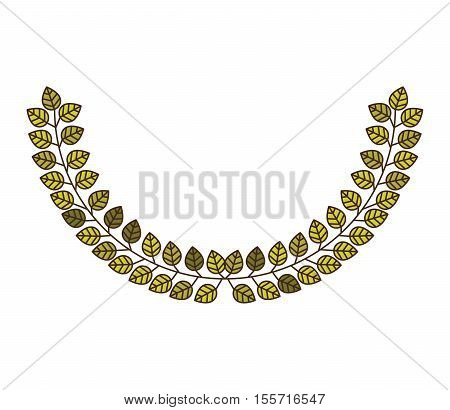 Arch of green leaves with ramifications vector illustration