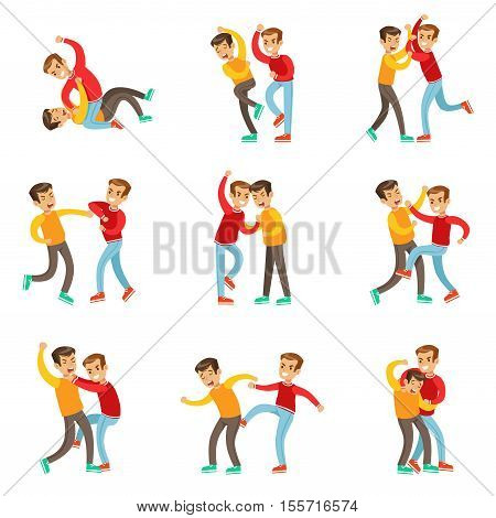 Two Boys Fist Fight Positions, Aggressive Bully In Long Sleeve Red Top Fighting Another Kid Who Is Weaker But Is Fighting Back. Set Of Flat Vector Teenage Aggression And Conflict Resulting In Street Fight Illustrations.