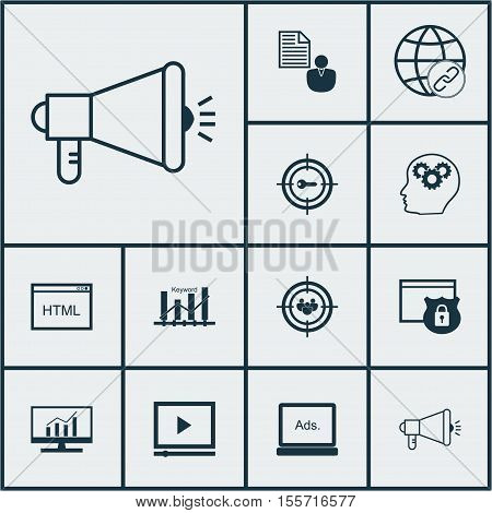 Set Of Seo Icons On Connectivity, Security And Keyword Optimisation Topics. Editable Vector Illustra