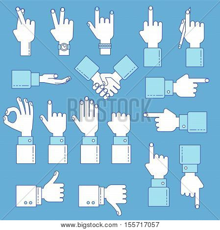 Hands Line Vector Design Set
