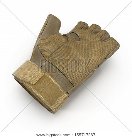 Soldier outdoor cycling ride tactical military short finger glove on white background. 3D illustration
