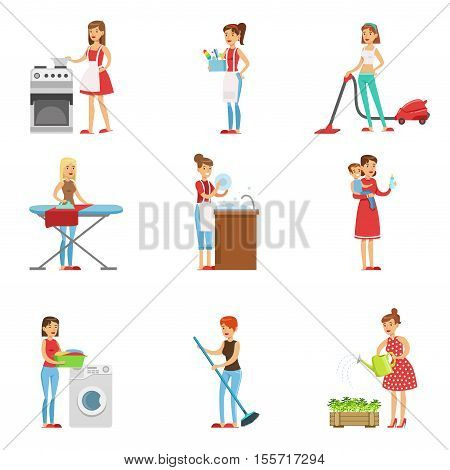 Happy Modern Housewives Cleaning And Housekeeping, Performing Different Household Duties With A Smile. Staying-at-home Wives In Traditional Female Family Role Set Of Colorful Cartoon Illustrations.