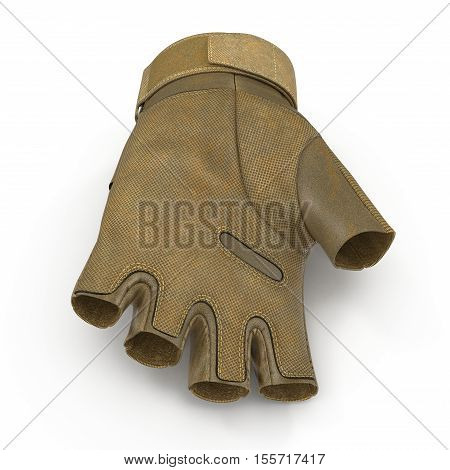 Combat yellow short finger glove on white background. 3D illustration