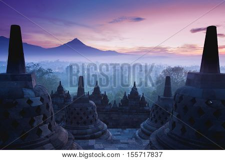 Borobudur Temple is sunrise Yogyakarta Java Indonesia.