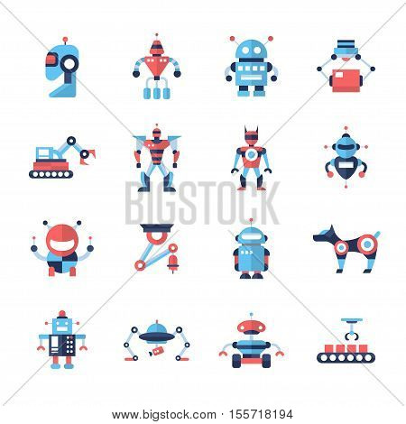 Robots - set of modern vector flat design icons and pictograms. Household, pet, transformer robots