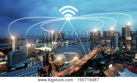 Singapore smart city and wifi communication network smart city and network connection concept