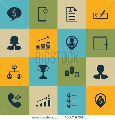 Set Of Management Icons On Money Navigation, Coins Growth And Job Applicants Topics. Editable Vector