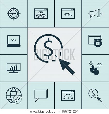 Set Of Marketing Icons On Market Research, Keyword Marketing And Website Performance Topics. Editabl