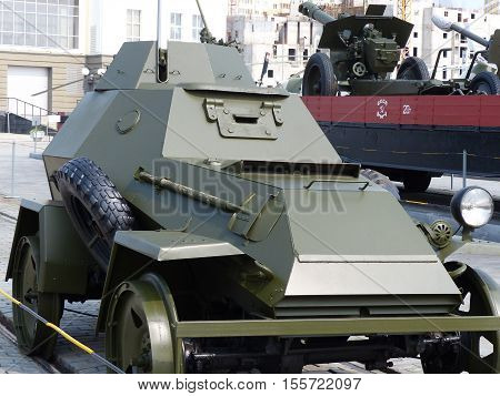 Upper Pyshma, Russia - July 2, 2016: Medium armored vehicle BA-64В, sample 1942 - an exhibit of the Museum of Military Equipment.