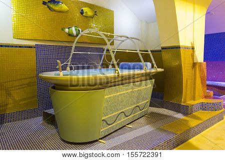 Turkish bath with massage table in the middle