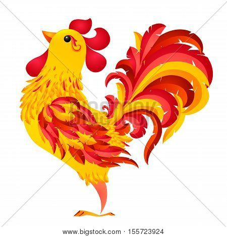 Red fiery vector rooster - symbol of 2017 new year by Chinese horoscope