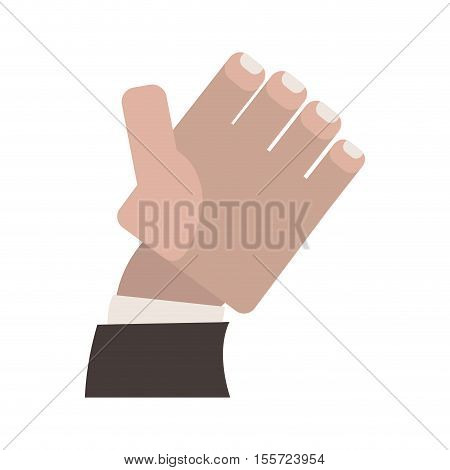 semi open hand with formal suit sleeve vector illustration