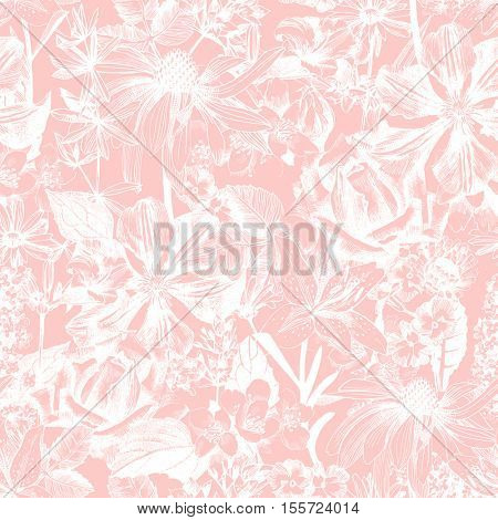 Hand drawn highly detailed seamless floral pattern
