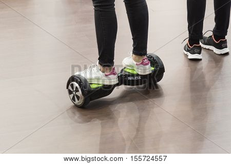 Detail Of Girl On Hoverboard At Eicma 2016