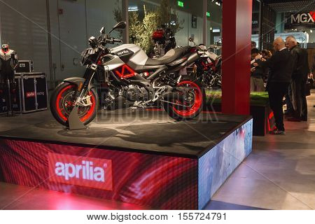 Aprilia Motorbike On Display At Eicma 2016 In Milan, Itally
