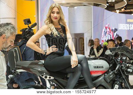 Model Posing At Eicma 2016 In Milan, Italy