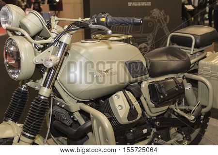 Moto Guzzi Motorbike On Display At Eicma 2016 In Milan, Itally
