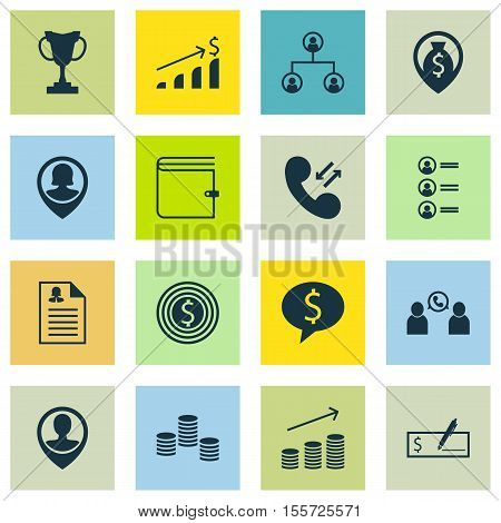 Set Of Human Resources Icons On Wallet, Employee Location And Business Goal Topics. Editable Vector