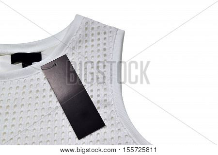 Sleeveless white blouse with a black label clipping path.