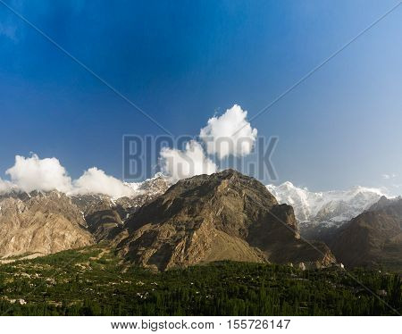 Panorama of Karimabad and Hunza valley Gilgit-Baltistan Pakistan