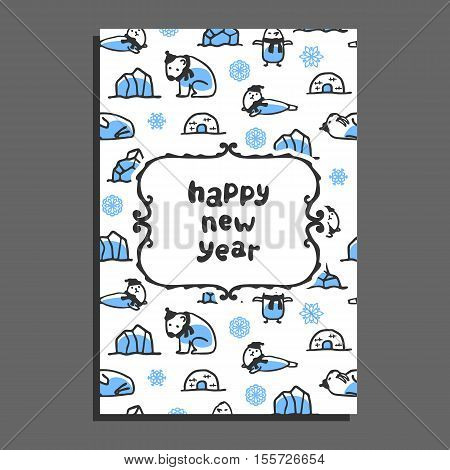 Happy new year card template with cute cartoon polar bear, seal, walrus and penguin. Vector arctic animals