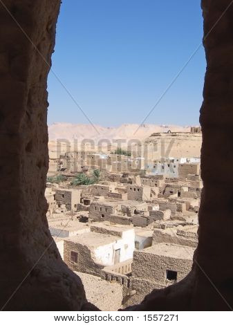 Small Village Of Bricks Of Dry Mud, El Qasr, Oasis Of Dakhla, Lybian Desert, Egypt