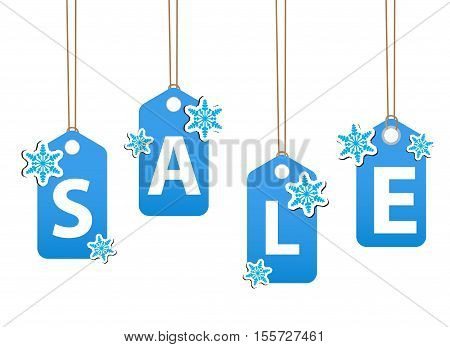 Winter sale poster. Christmas sale invitation template. Vector illustration
