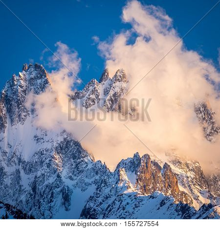 Cloudy Chamonix Aiguilles with Alpenglow, Alps, France