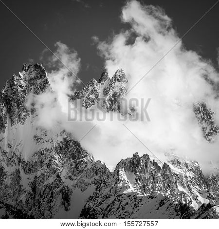 Cloudy Chamonix Aiguilles in Black and White, Alps, France
