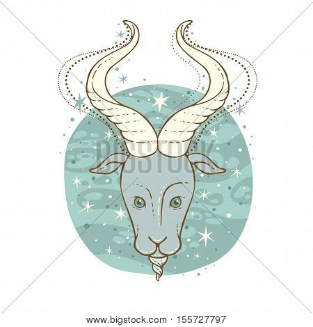 Capricorn zodiac sign. Vector illustration isolated on white.