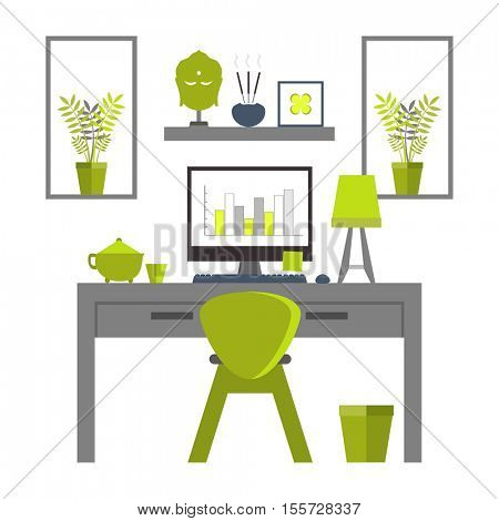 Flat design of Zen home office layout. Relaxing work environment.