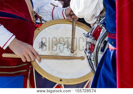 CAGLIARI ITALY - October 29 2016: Invitas waterfront Porto, Sardinia of performances and food traditions. - Drummers and flag bearers of Iglesias