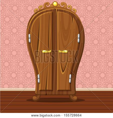 cartoon funny closed Retro wardrobe, Living room wooden furniture