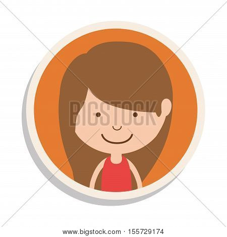 round frame and girl with brown hair vector illustration