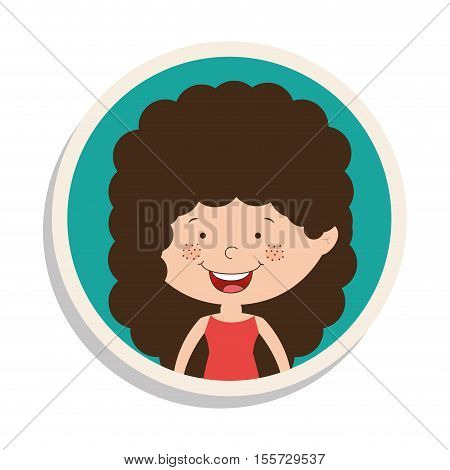 round frame and girl smiling with curly hair vector illustration