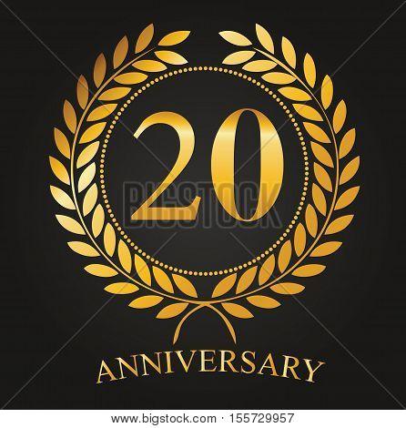 20 Years Anniversary Golden Label - 20th Anniversary Logo Celebretion Ribbon Vector Illustrator Stock