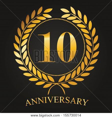 10 Years Anniversary Golden Label - 10th Anniversary Logo Celebretion Ribbon Vector Illustrator Stock