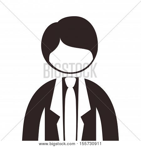 silhouette half body man suit with tie vector illustration