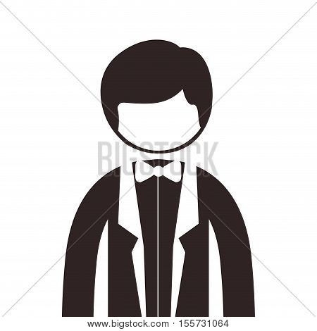 silhouette half body man suit with bowtie vector illustration