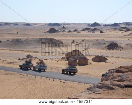 White Egyptian Desert With Four Wheels Jeeps, Lybian Desert, Egypt