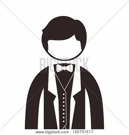 silhouette half body man with formal suit and bowtie vector illustration