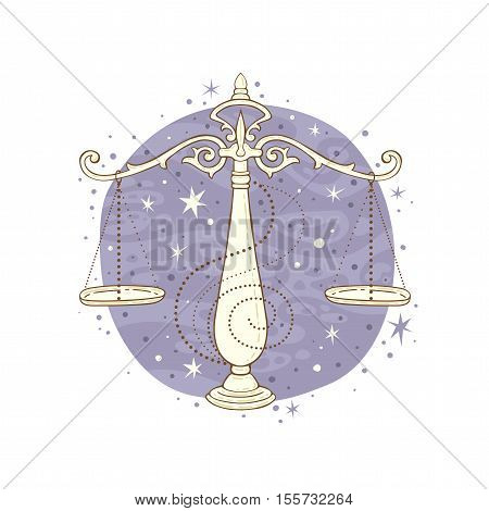 Libra zodiac sign. Vector illustration isolated on white.