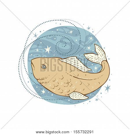 Pisces zodiac sign. Vector illustration isolated on white.