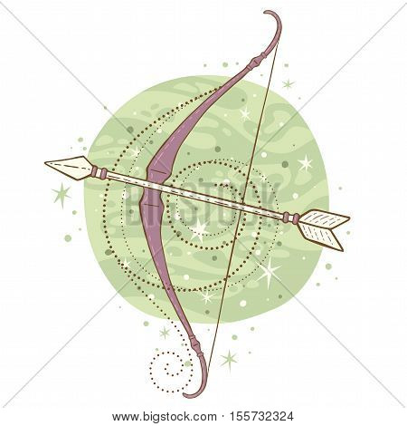 Sagittarius zodiac sign. Vector illustration isolated on white.