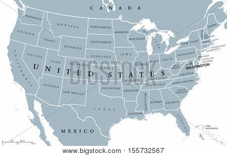 USA United States of America political map with capital Washington, single states, neighbor countries and borders except Hawaii and Alaska. Gray colored illustration with English labeling and scaling.