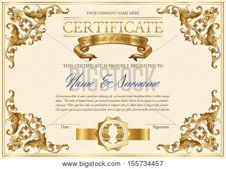 Vector detailed vintage style certificate of achievement. Elegant royal design for completion appreciation or achievement certificates. Only free fonts used. Font name included in the layers