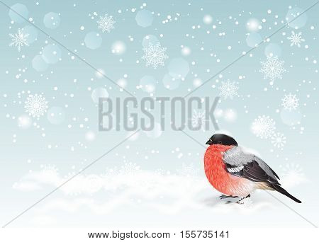 Vector Christmas and New Year background. Holiday background with snowflakes and cute bullfinch. Design for christmas party invitation holiday sales greeting cards flyer.