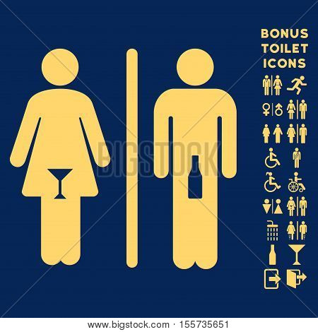 WC Persons icon and bonus man and woman restroom symbols. Vector illustration style is flat iconic symbols, yellow color, blue background.